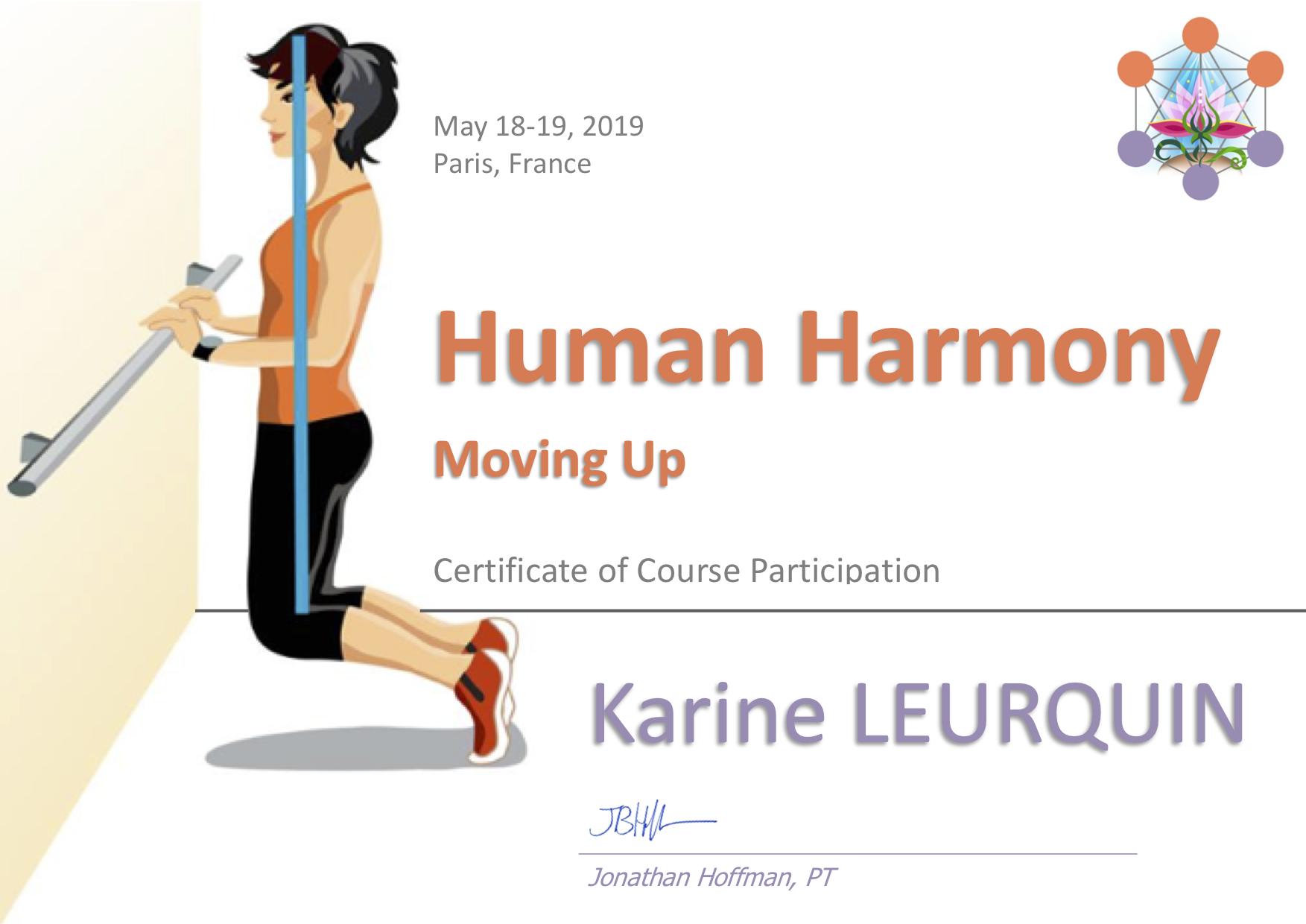 Certificat de participation au cours Human Harmony – Karine Leurquin
